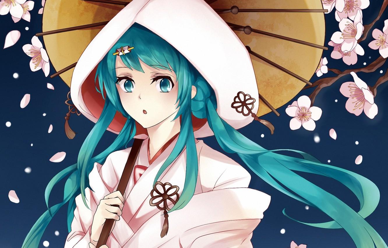 Photo wallpaper girl, flowers, umbrella, petals, Sakura, art, hood, leaf, vocaloid, hatsune miku, yuki miku, izaro