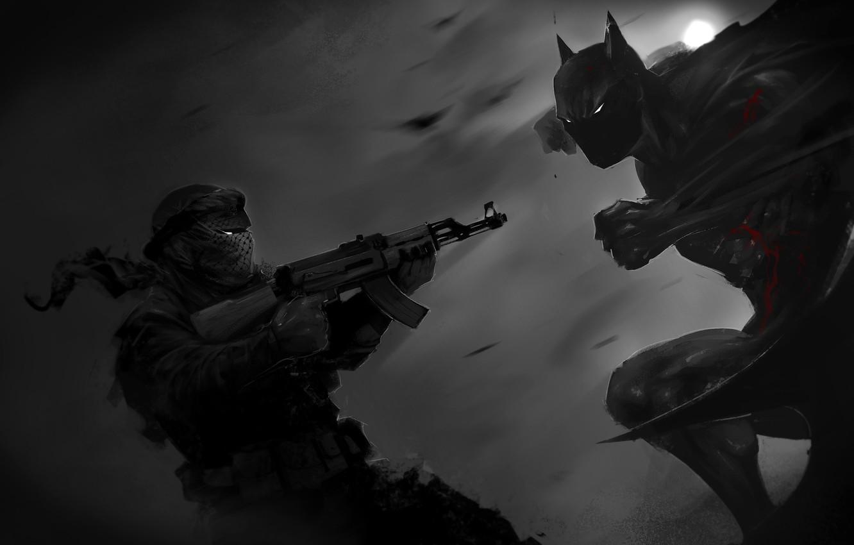 Photo wallpaper batman, hero, art, AK-47, Kalash, criminal, Dark Knight