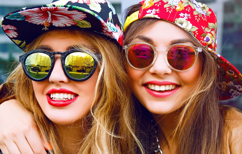 Photo wallpaper girls, mood, glasses, smile, caps