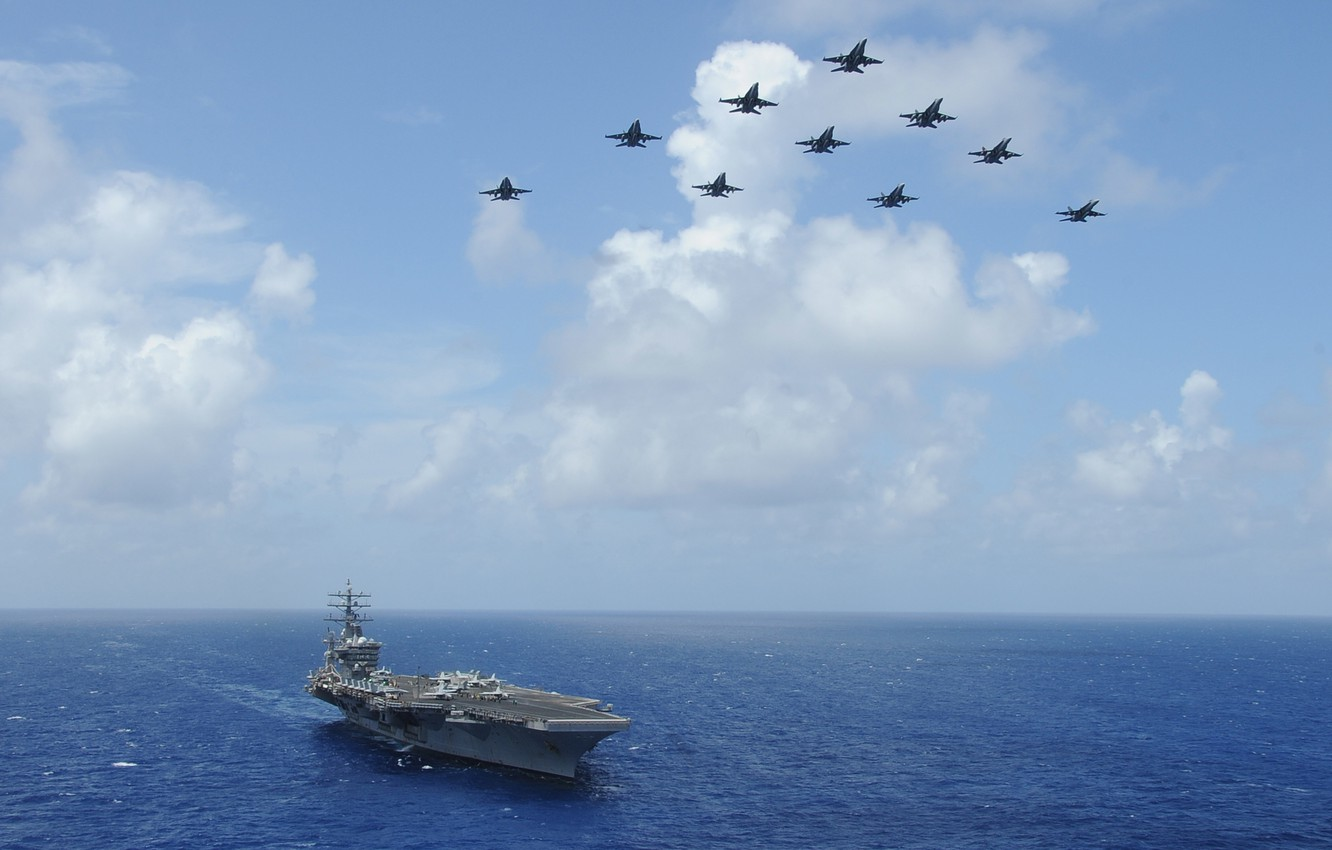 Photo wallpaper The ocean, dal, The carrier, carrier-based fighter