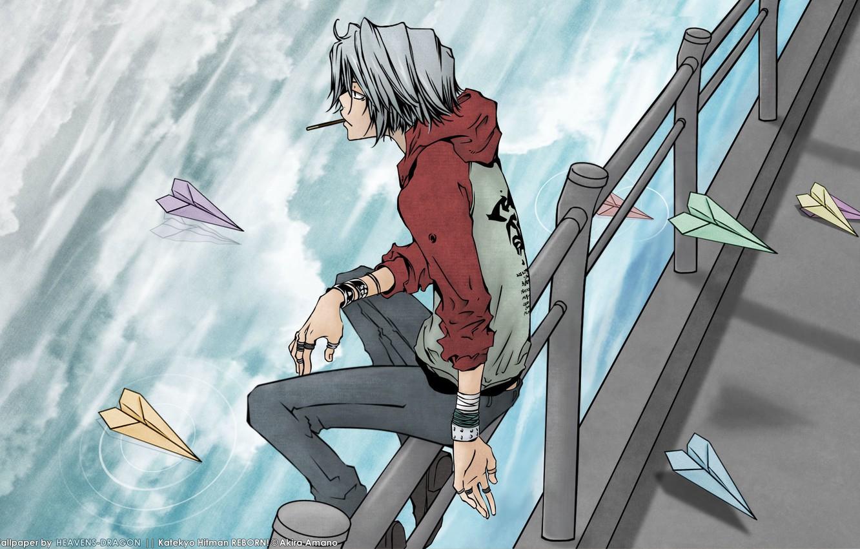Photo wallpaper water, anime, art, katekyo Hitman reborn, silver hair, vongola, paper airplanes, gokudera hayato