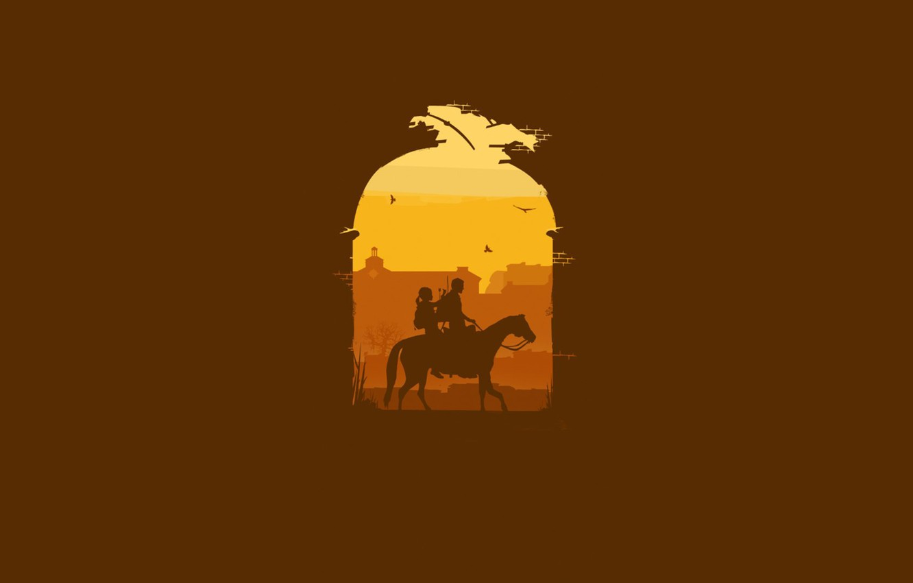 Photo wallpaper wall, horse, minimalism, The Last of Us, Naughty Dog, Some of us, Sony Computer Entertainment, …