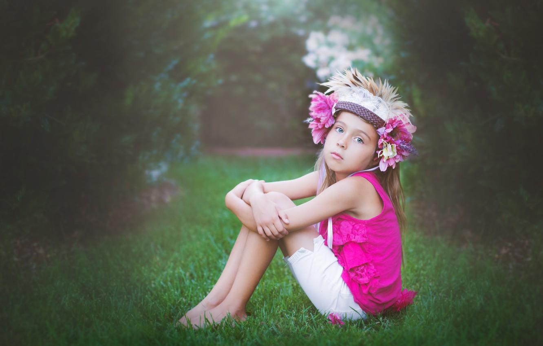 Photo wallpaper flowers, pose, child, girl, sitting