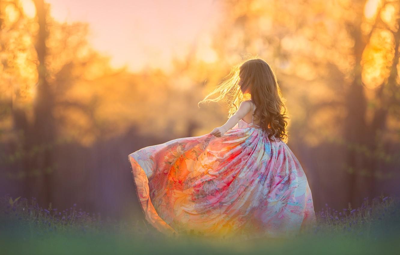 Photo wallpaper nature, mood, girl, bokeh, sundress