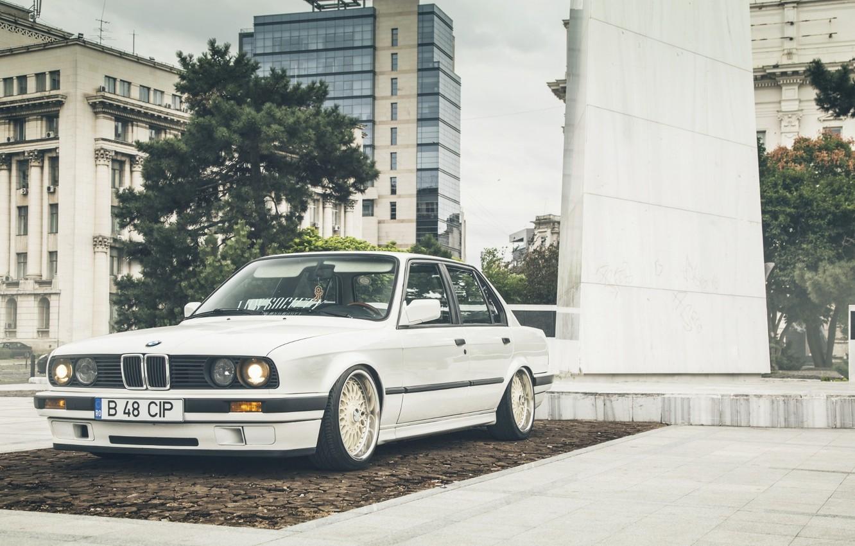 Photo wallpaper BMW, Car, White, E30, Stance, LowSociety