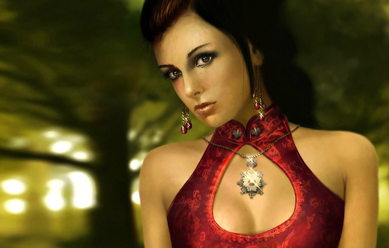 Photo wallpaper girl, light, trees, nature, face, background, red, patterns, hair, earrings, dress, medallion, glitters