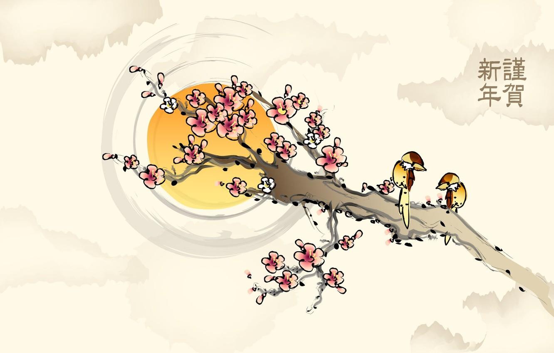 Photo wallpaper the sun, flowers, birds, figure, branch, Sakura, characters