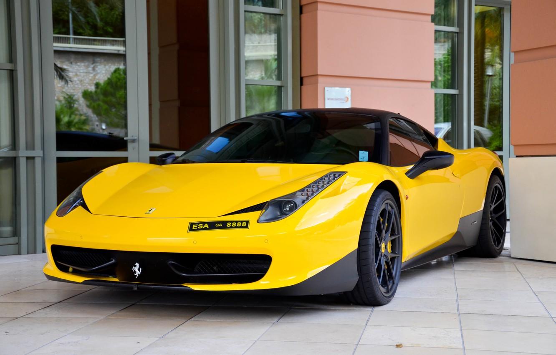 Photo wallpaper yellow, tuning, Windows, the door, mirror, ferrari, Ferrari, front view, facade, yellow, Italy, 458 italia, …