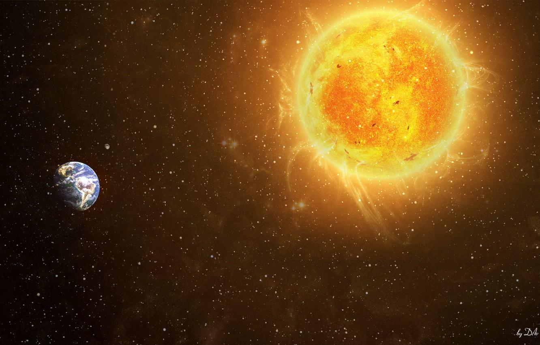 Photo wallpaper the sun, space, stars, earth