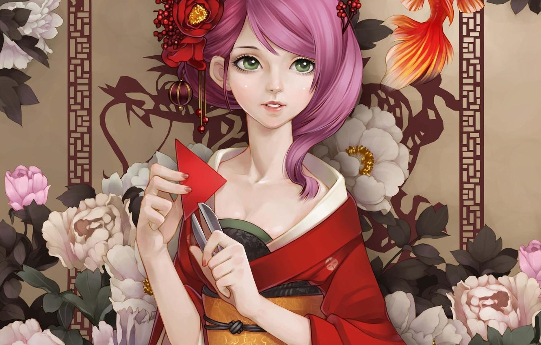 Photo wallpaper girl, flowers, paper, fish, fish, art, kimono, scissors, peonies, gold, dong xiao