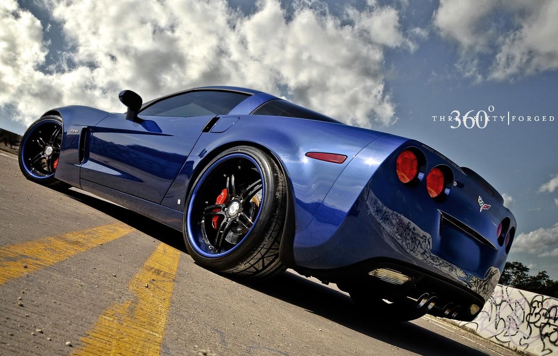 Photo wallpaper blue, Z06, Corvette, Chevrolet, Chevrolet, blue, Corvette, 360 three sixty forged