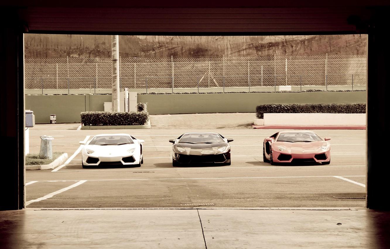 Photo wallpaper garage, Parking, three, LAMBORGHINI, AVENTADOR