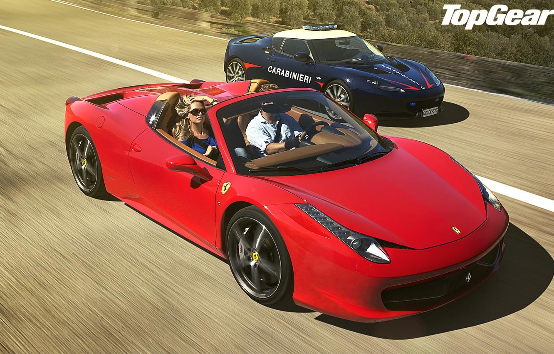 Photo wallpaper blue, red, blonde, Lotus, Ferrari, Lotus, Ferrari, 458, italia, top gear, Italy, spider, and, supercars, …