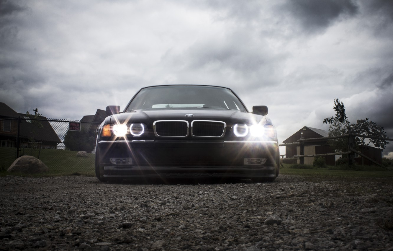 Photo wallpaper the sky, clouds, BMW, Tuning, Boomer, Lights, tuning, stance, Front, E38