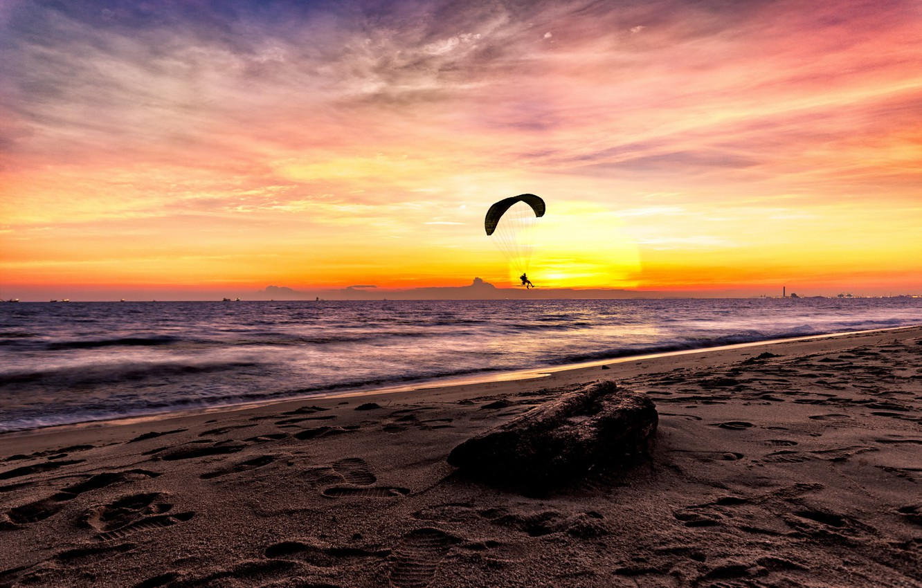 Photo wallpaper sea, the sky, sunset, paraglider