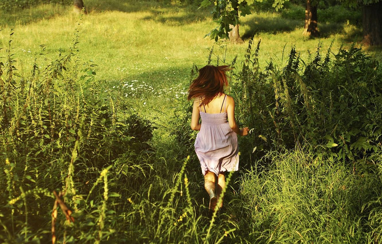 Photo wallpaper greens, summer, grass, girl, runs