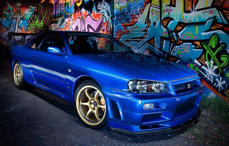 Photo wallpaper blue, graffiti, Nissan, Nissan, blue, Skyline, R34, skyline