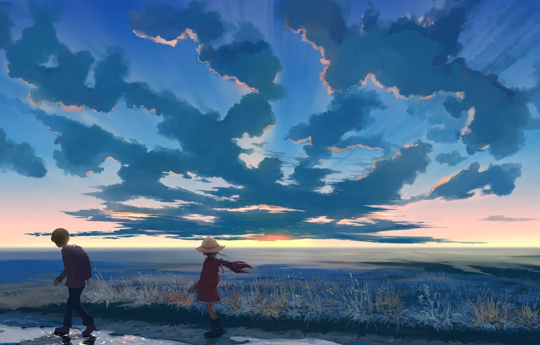 Photo wallpaper the sky, clouds, sunset, nature, hat, anime, boy, art, girl, hangmoon