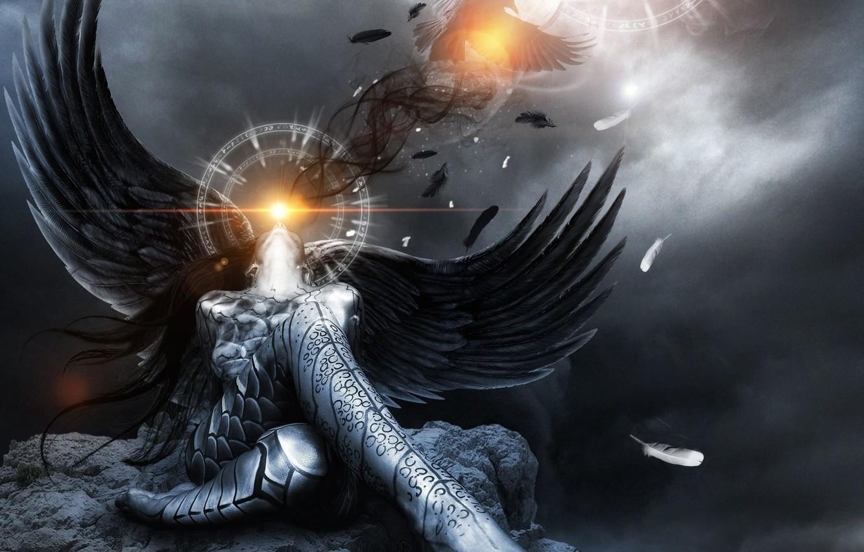 Photo wallpaper girl, light, pose, fiction, bird, stone, wings, angel, feathers, Raven