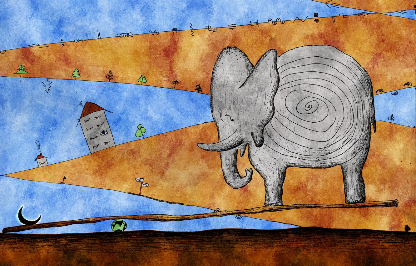 Photo wallpaper abstraction, elephant, a month