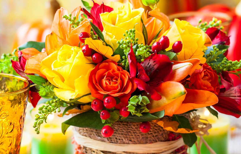 Photo wallpaper flowers, berries, roses, bouquet, flowers, berries, bouquet, roses