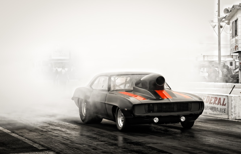 Photo wallpaper race, black, track, Chevrolet, Camaro, muscle car, Camaro, Classica
