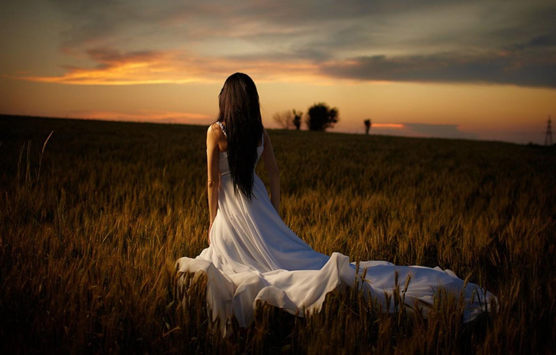 Photo wallpaper the sky, grass, trees, nature, model, hair, Girl, the evening, figure, dress, girl, grass, beautiful, …