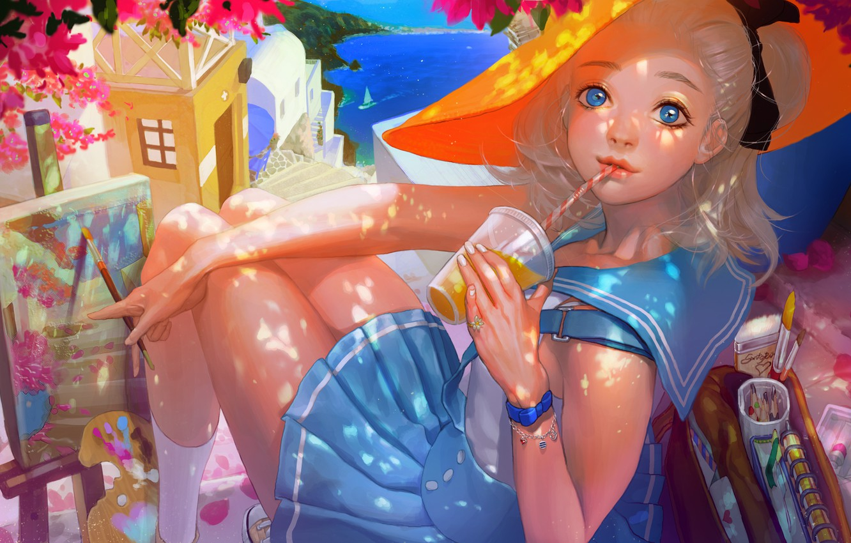 Photo wallpaper sea, girl, the city, paint, figure, sailboat, picture, hat, art, drink, brush, sailor, rukiana