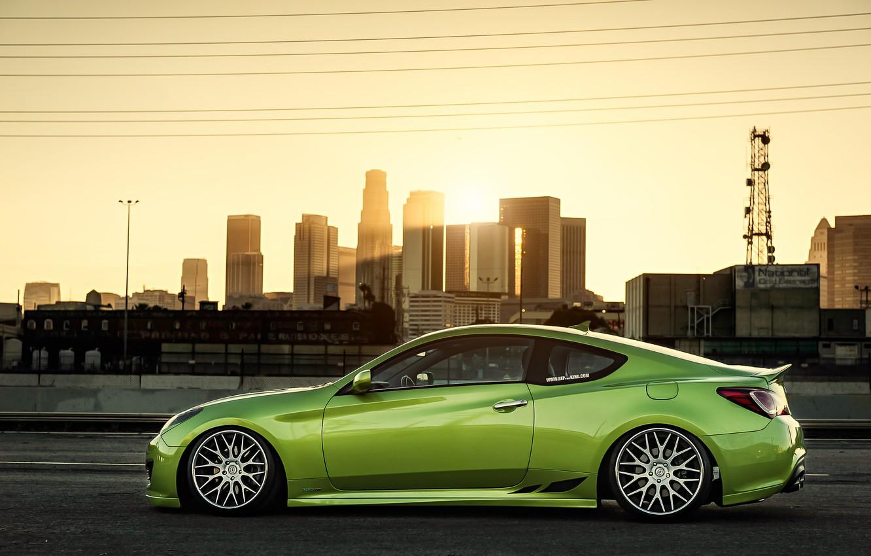 Photo wallpaper green, green, coupe, profile, tuning, hyundai, Hyundai, stance, genesis, Genesis