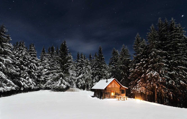 Photo wallpaper winter, forest, the sky, stars, light, snow, trees, night, house, hut, the edge