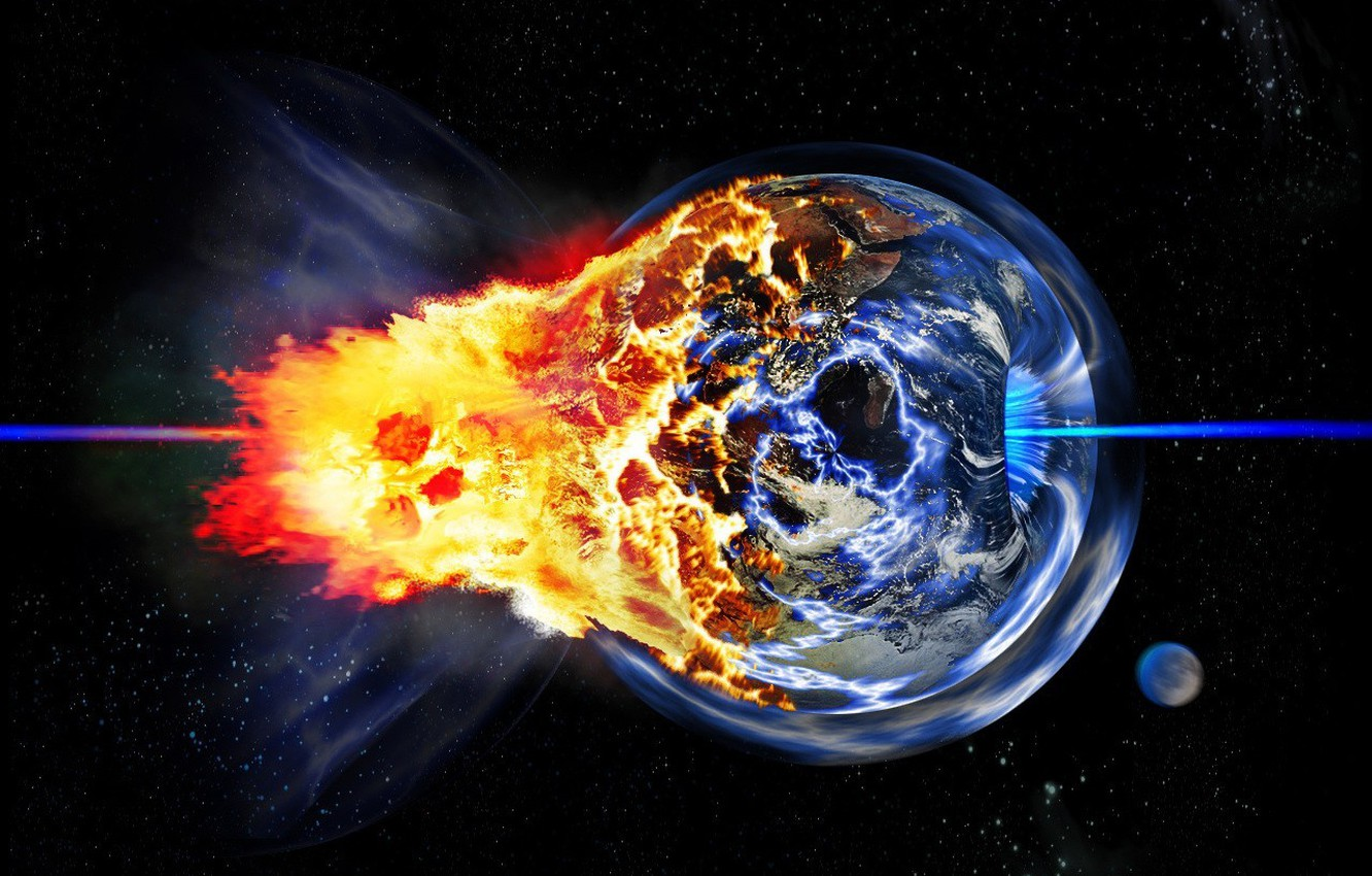 Photo wallpaper the explosion, planet, Disaster