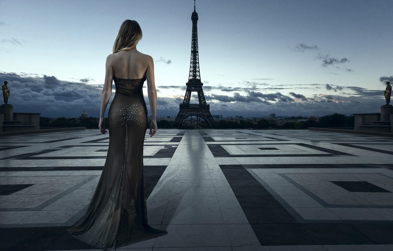 Photo wallpaper city, girl, Paris, dress, style, France, evening, model, blonde, Eiffel Tower, elegant, evening dress