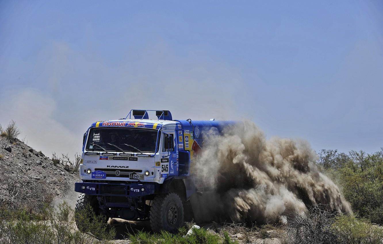 Photo wallpaper sand, the sky, stones, speed, dust, turn, skid, truck, Russia, the bushes, kamaz, russia, KAMAZ, …