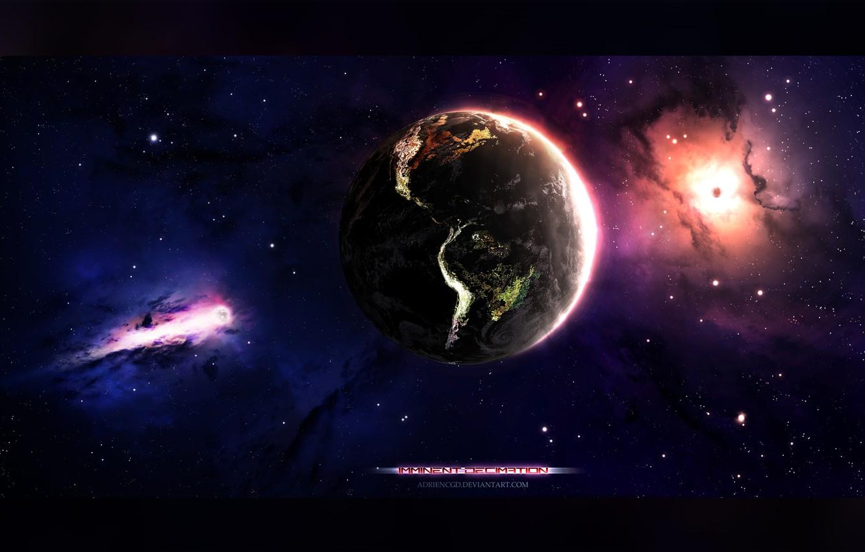 Photo wallpaper space, stars, nebula, earth, planet, earth, art, space, universe, nebula, art, planet