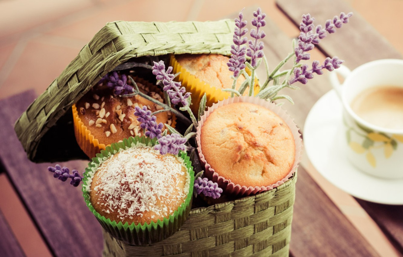 Photo wallpaper coffee, food, Cup, cake, cappuccino, dessert, food, cup, sweet, cupcakes, coffee, dessert, lavender, cappuccino, lavender, …