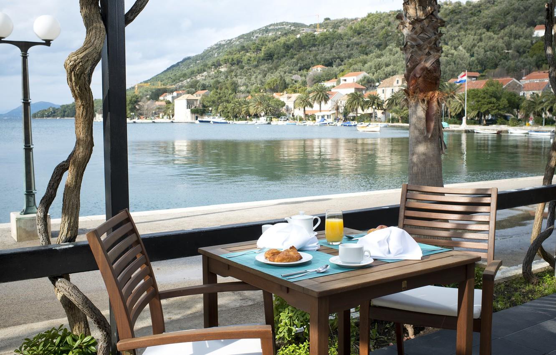 Photo wallpaper sea, view, food, Breakfast, terrace