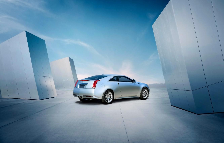 Photo wallpaper Cadillac, The sky, Auto, Grey, CTS, Cadillac, Coupe