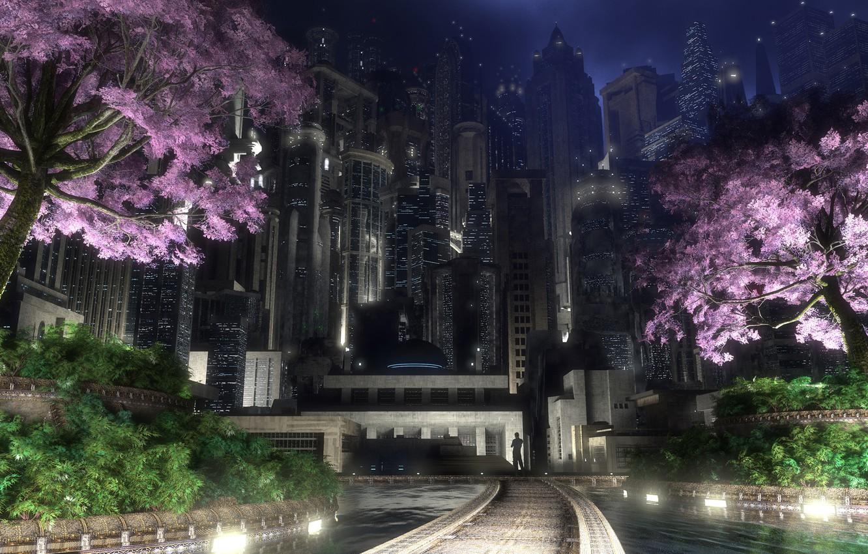 Photo wallpaper night, the city, lights, digital, spring, gotham garden, flowering trees