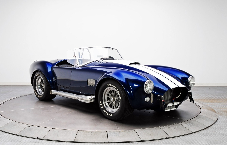 Photo wallpaper Shelby, blue, white stripes, AC Cobra