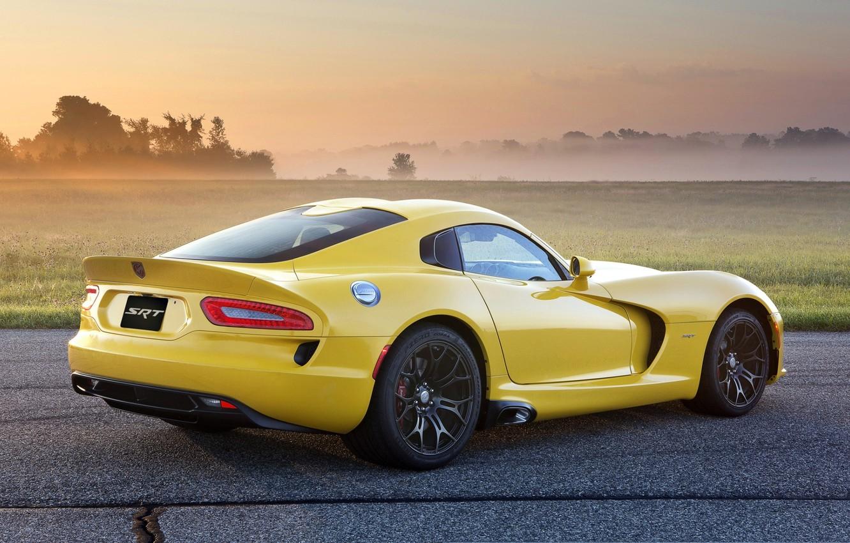 Photo wallpaper field, yellow, fog, Dodge, Dodge, supercar, drives, Viper, rear view, GTS, Viper, SRT