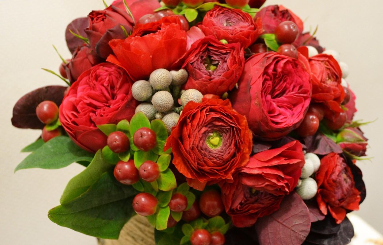 Photo wallpaper flowers, red, berries, bouquet, wedding