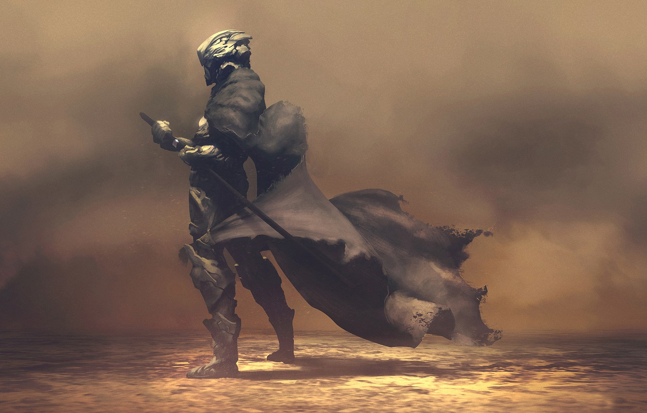 Photo wallpaper fiction, sword, warrior, cloak, render, hq Wallpapers, nomad