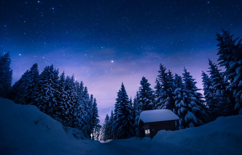Photo wallpaper winter, landscape, night