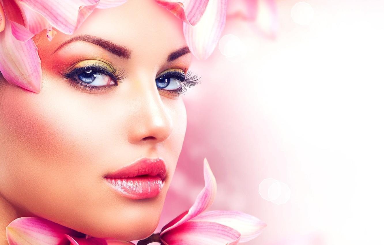 Photo wallpaper look, girl, face, makeup, petals, lips