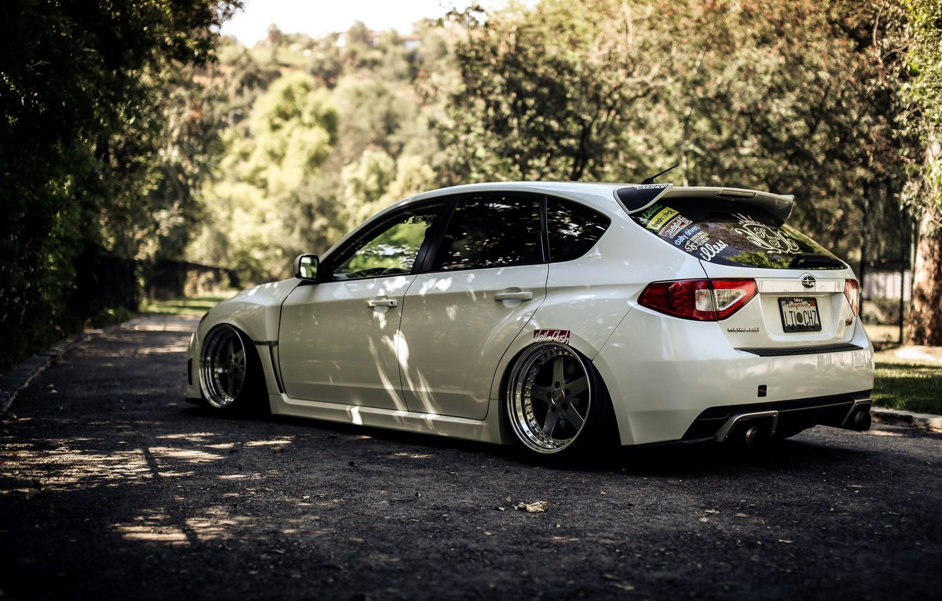 Photo wallpaper white, Forest, CA, subaru, wrx, impreza, sti, Subaru Impreza wrx sti