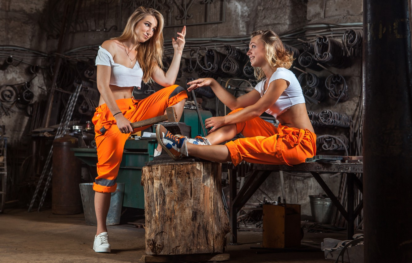 Photo wallpaper models, workers, poses, metallurgy, work clothes