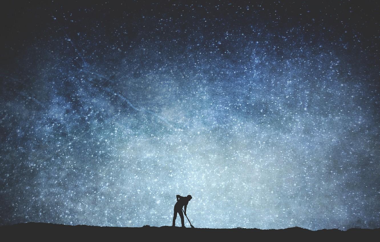 Photo wallpaper space, stars, silhouette, male, The Milky Way, secrets