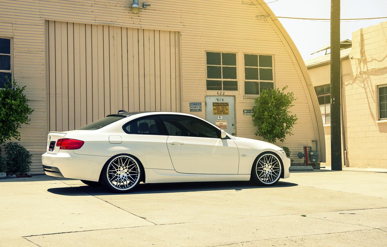 Photo wallpaper BMW, white, E92, 328i, MRR Wheels