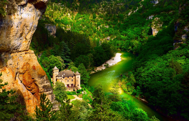 Photo wallpaper forest, mountains, river, castle, France, Laval