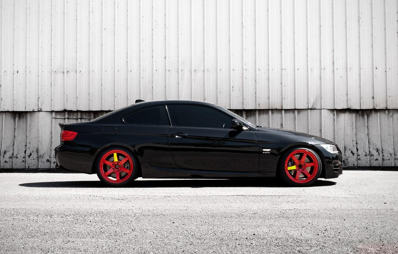 Photo wallpaper BMW, Red, Black, 335i, E92